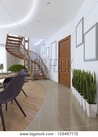 The corridor leading to the spiral staircase to the second floor. On the floor in the corridor on the floor vases in white pots. 3D render.