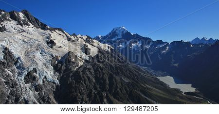 Big glacier Mt Cook and Hooker Lake. Morning scene in the Southern Alps New Zealand.