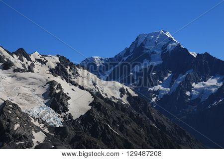 Mount Cook in summer. View from the Sealy Tarns Track.