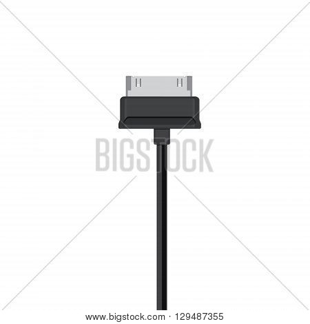 Vector illustration black usb cord cable connector symbol