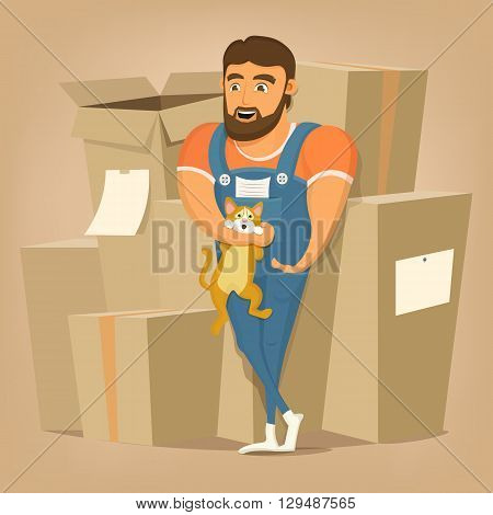 Moving and delivery company illustration.Mover man holding cat. Vector illustration