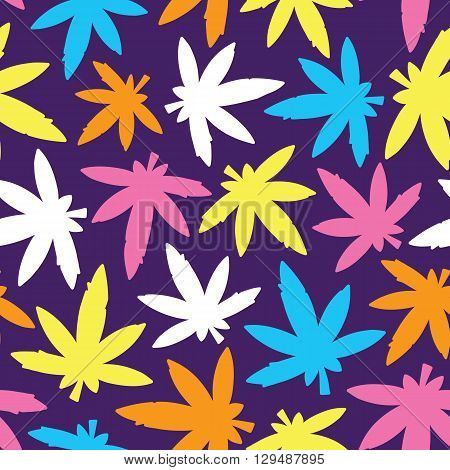 Marihuana ganja weed seamless vector pattern bright colors