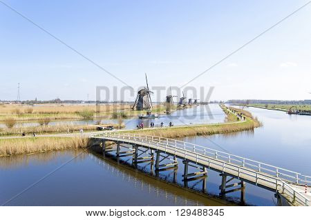 Aerial from traditional windmills at Kinderdijk in the Netherlands