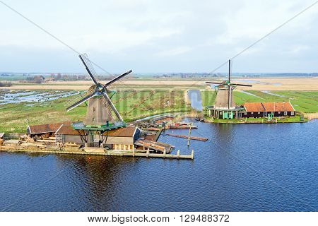 Aerial from traditional windmills at Zaanse Schans in the Netherlands
