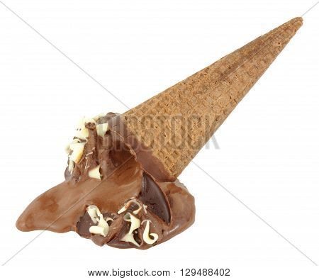 Melting chocolate flavour ice cream cone isolated on a white background