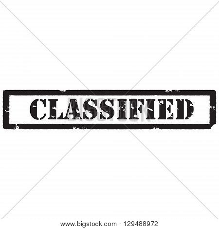 Vector illustration black grunge rubber stamp with text classified isolated on white background