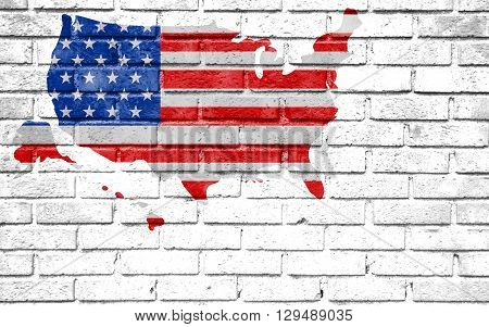 Usa Vote Election For 2016 United States Of America Map Flag On White Wall Background