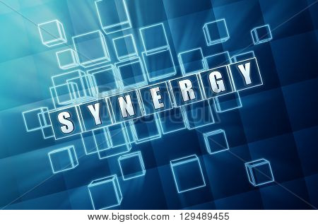 synergy - text in blue glass cubes with white letters 3D illustration business teamwork connection concept word