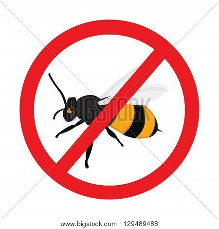 Honey bee vector icons. Bumblebees symbol. Sticker with Warning sign bee icon. Prohibition red symbols.