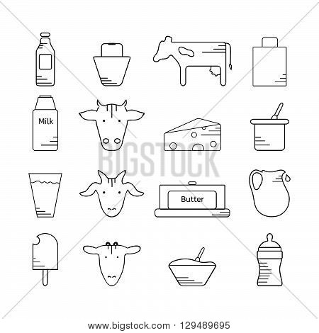 Dairy icon in line style. Set of milk vector illustration. Logo and labels for farming and production. Icons for web mobile and print. White background.