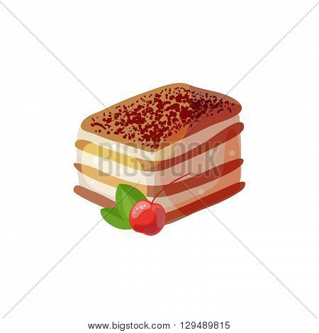 Tiramisu with cherry on a white background. Vector illustration of baking. Isolated vector illustration on white background