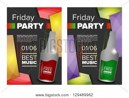 Weekend party. Friday party banner or invitation