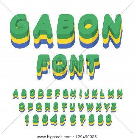 Gabon Font. Gabonese Flag On Letters. National Patriotic Alphabet. 3D Letter. State Color Symbolism