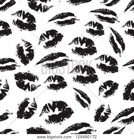 Print of lipstick. Black and white seamless pattern with elements of a kiss lips smile. Seamless pattern can be used for wallpaper pattern fills web page background surface textures