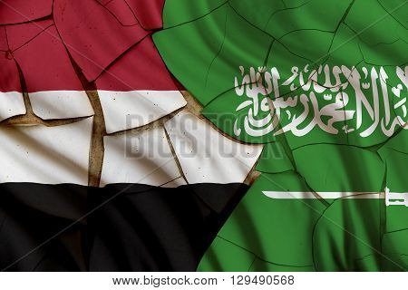 Flag of Saudi Arabia and Yemen. Riyadh intervention to influence the outcome of Yemeni civil war carrying out airstrikes heralding a military intervention codenamed Operation Decisive Storm.