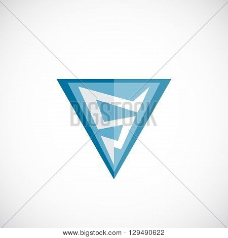 Abstract Vector Lightning Logo Template. Electricity or Power Sign. Flat Style Triangle Flash in Shield Emblem. Thunderbolt Symbol as a Five Numeral. Isolated.