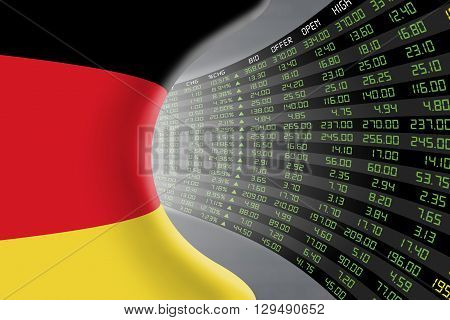 National flag of Germany with a large display of daily stock market price and quotations during economic booming period. The fate and mystery of German stock market tunnel/corridor concept.