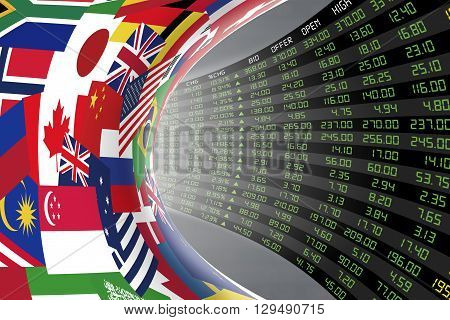 Flags of main countries in the world with a large display of daily stock market price and quotations during economic booming period. The fate and mystery of world stock market tunnel/corridor concept