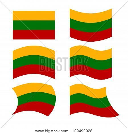 Lithuania Flag. Set Of Flags Of Republic Of Lithuania In Various Forms. Developing Flag Of Lithuania