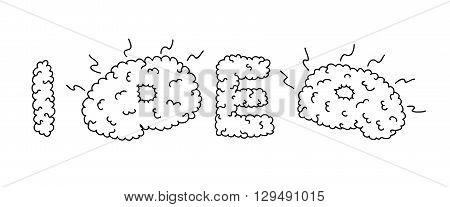 Idea inscription based on brain gyrus look. Brain convolutions. Black and white outline. Hand drawn vector illustration.