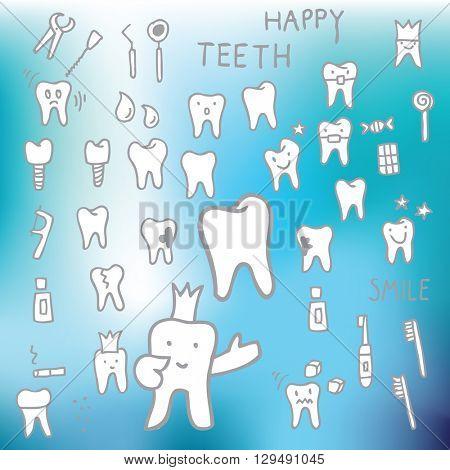 Teeth - design elements, doodles