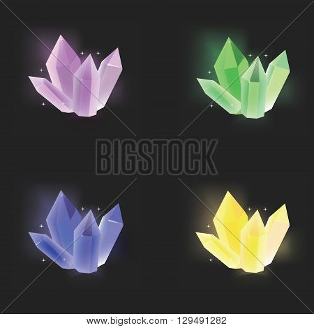 Vector illustration green yellow blue and purple magic crystal on black background. Crystal resource for app. Shining crystal vector icon set collection