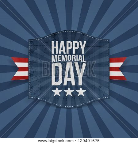 Happy Memorial Day festive Banner with Text and striped Ribbon on blue striped Background. Vector Illustration