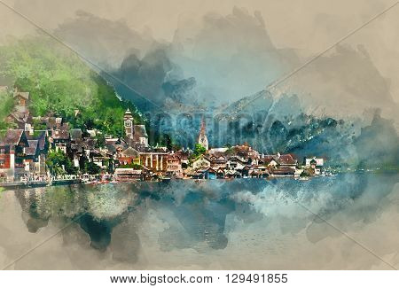 Hallstatt village oldest village in Austria. Digital watercolor painting