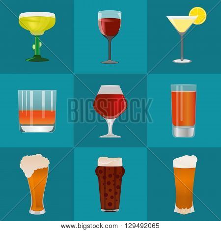 Alcohol and beer vector icons set. Alcohol glass and beer label. Beer cups silhouette. Oktoberfest beer vector set. Alcohol drink beer sign beer pub alcohol. Beer and Alcohol logo.