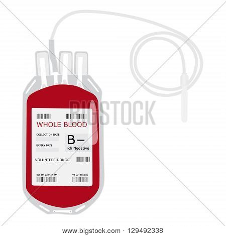 Vector illustration blood bag with label B negative blood isolated on white. Donate blood concept. Realistic blood bag
