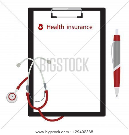 Vector illustration health medical insurance concept design. Clipboard with document ball pen and stethoscope.