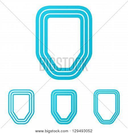 Cyan line defense sign logo design set