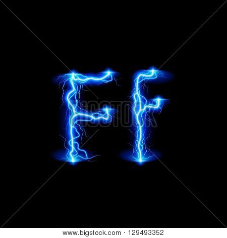 Uppercase and lowercase letters F in lighting style