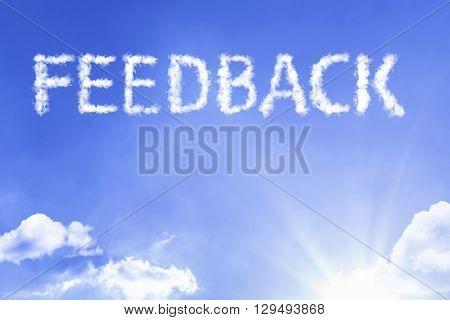 Feedback cloud word with a blue sky