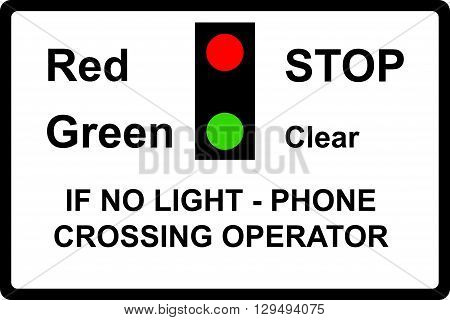 Miniature warning lights at level crossings sign