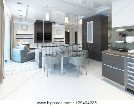 Dining in a studio apartment with a dining table and chairs for three people. Dining table served in a contemporary style. 3D render.