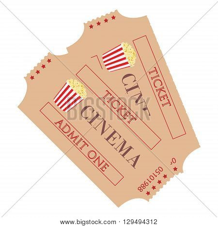 Vector illustration two cinema ticket with popcorn symbol isolated on white background. Admit one. Movie ticket