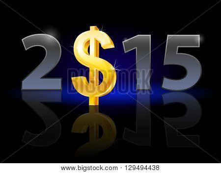 New Year 2015: metal numerals with USA dollar instead of zero having weak reflection. Illustration on black background.