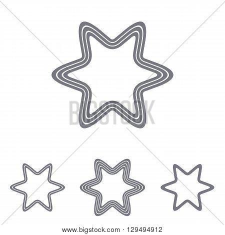 Grey line star logo icon design set