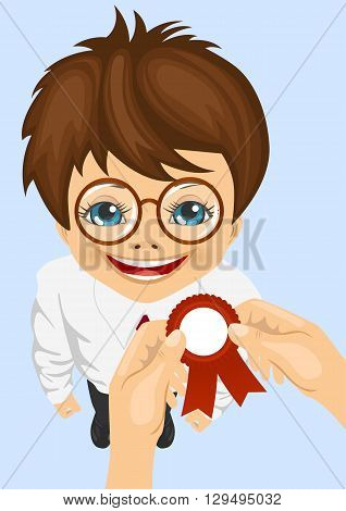 somebody pins award ribbon to chest of schoolboy won school competitions standing on blue background