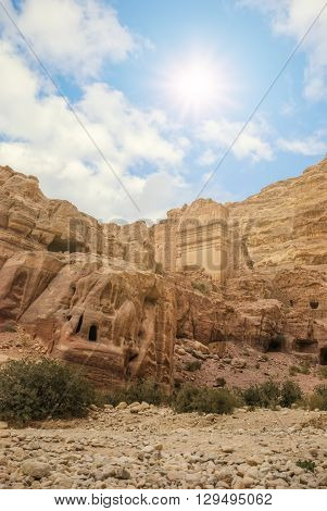 Nature of Petra, Jordan. Petra is one the New Seven Wonders of the World. The city of Petra was lost for over 1000 years.
