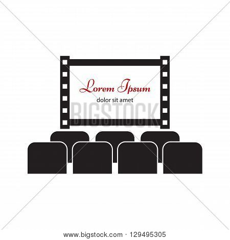 Cinema hall icon. Cinema, movie logo, label or badge template. Movie screen with seats vector illustration.