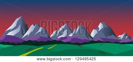 Cartoon nature seamless horizontal landscape with mountains hills and night sky. Vector illustration. Parallax background for endless runner games.