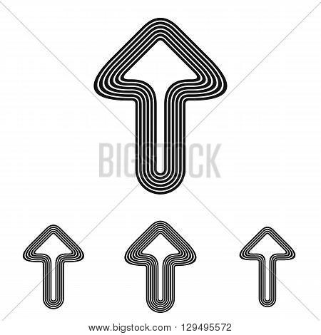 Black line success symbol logo design set