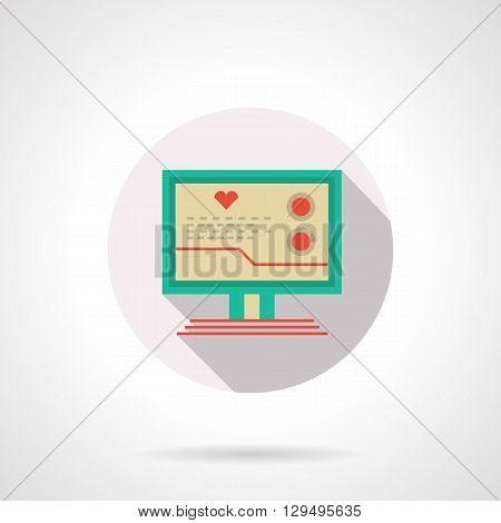 Green computer with image heart and curve on monitor. Cardiology consultation online. Medicine technology and education. Round flat color vector icon. Web design element for site, mobile and business.