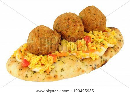 Fried falafels on a naan bread with couscous isolated on a white background