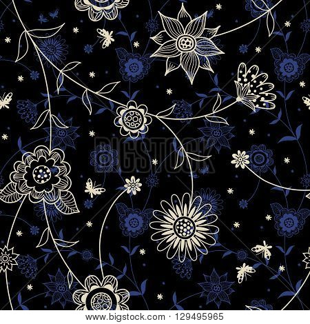 Ornate Floral Seamless Texture In Retro Style.