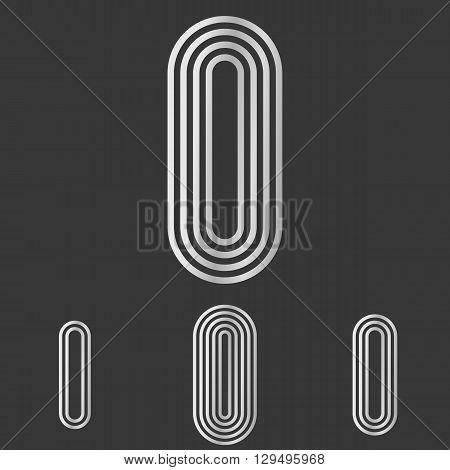 Silver line letter i logo design set