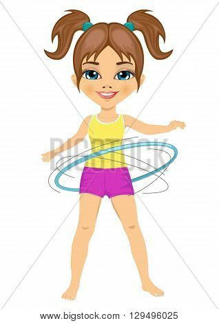 Cute little girl with her hula hoop on white background