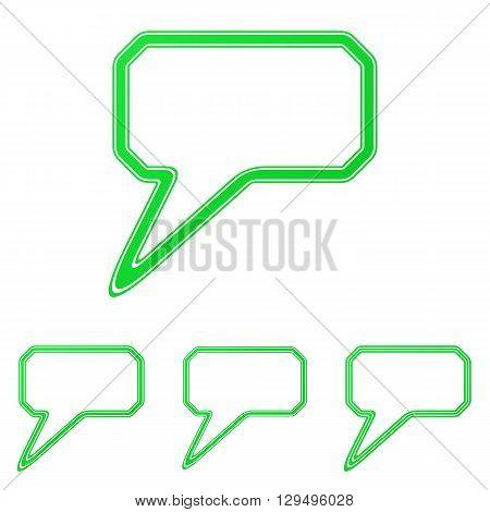 Green line comment icon logo design set
